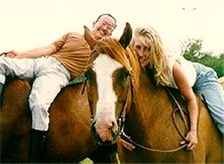 Erick in 1994 (46 years old) with Kim, a bareback riding student