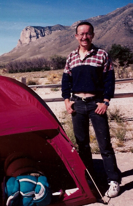 Erick in October, 1994, camping out at Guadalupe Peak