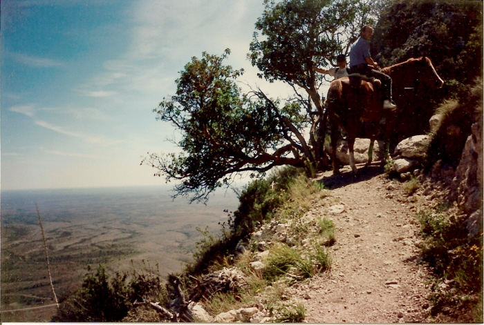 Erick in October, 1994, with Lady halfway to the top of Guadalupe Peak