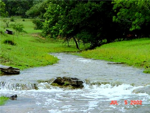 [One of the two spring fed creeks at Lucky Hit Ranch, Leander, Texas - July 5, 2002]